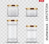 set of transparent glass jars...   Shutterstock .eps vector #1391757254
