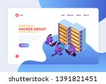 isometric hacker concept banner ...