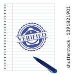 verified emblem drawn with pen. ... | Shutterstock .eps vector #1391821901