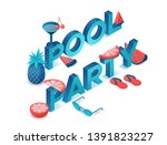 pool party 3d isometric letters ... | Shutterstock .eps vector #1391823227