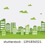 green city. ecology background...   Shutterstock .eps vector #1391856521