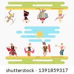 happy multicultural indonesian... | Shutterstock .eps vector #1391859317