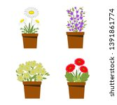 set of flower bouquets  potted... | Shutterstock .eps vector #1391861774