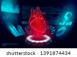 3d low poly human heart hud... | Shutterstock .eps vector #1391874434