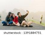 group of three asian friends...   Shutterstock . vector #1391884751