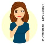 girl emotions. the young girl... | Shutterstock .eps vector #1391885894