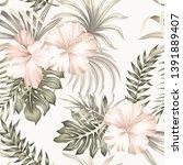 tropical vintage hibiscus... | Shutterstock .eps vector #1391889407