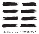Stock vector brush stroke set isolated on white background collection of brush stroke for black ink paint 1391938277