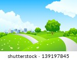 landscape   green hills with... | Shutterstock . vector #139197845