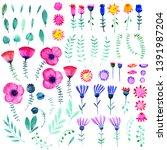 hand drawn watercolor fantasy... | Shutterstock . vector #1391987204