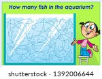 Stock vector in the vector illustration puzzle how many fish in the aquarium ready design template for your 1392006644