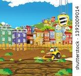 cartoon scene with digger... | Shutterstock . vector #1392009014