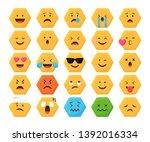 emoji set icon flat vector...   Shutterstock .eps vector #1392016334