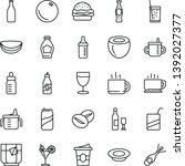 thin line vector icon set   mug ... | Shutterstock .eps vector #1392027377