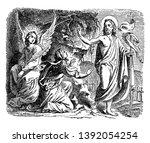 jesus carrying the cross banner ... | Shutterstock .eps vector #1392054254