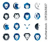 lion faces heraldic elements... | Shutterstock .eps vector #1392065837