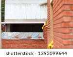 cross section of a wall with... | Shutterstock . vector #1392099644