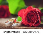 wedding rings and red rose on... | Shutterstock . vector #1392099971