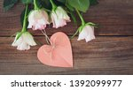 paper heart and pink roses flat ... | Shutterstock . vector #1392099977