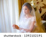 beautiful bride in white... | Shutterstock . vector #1392102191