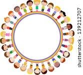 kids and rainbow | Shutterstock .eps vector #139212707