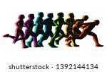 running marathon  people run ... | Shutterstock .eps vector #1392144134