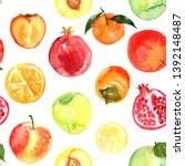 pattern of fruit painted with... | Shutterstock . vector #1392148487