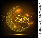 eid mubarak greeting card with... | Shutterstock .eps vector #1392152897