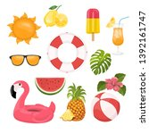 summer icons set  ice cream ... | Shutterstock .eps vector #1392161747