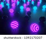 abstract striped glowing balls... | Shutterstock . vector #1392170207