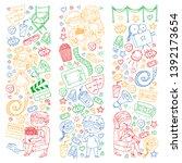 vector pattern with cinema... | Shutterstock .eps vector #1392173654