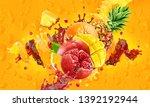 healthy mango  pomegranate ... | Shutterstock . vector #1392192944