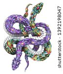 patterned two snakes on the... | Shutterstock .eps vector #1392198047