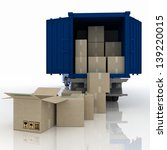 truck  with boxes. 3d ... | Shutterstock . vector #139220015
