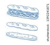 tasty sub sandwich tasty... | Shutterstock .eps vector #1392241871