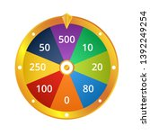 spin wheel game winning money... | Shutterstock .eps vector #1392249254