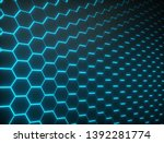 hexagon shapes wall with... | Shutterstock . vector #1392281774