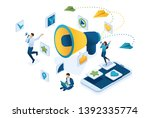isometric social media... | Shutterstock .eps vector #1392335774