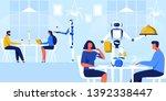 robots waiters in restaurant... | Shutterstock .eps vector #1392338447