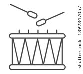 drum and sticks thin line icon. ... | Shutterstock .eps vector #1392347057