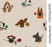 Seamless Pattern With Cute Dogs ...