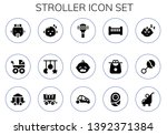 stroller icon set. 15 filled... | Shutterstock .eps vector #1392371384