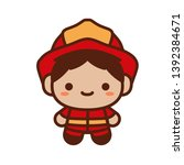 vector cartoon kawaii fire... | Shutterstock .eps vector #1392384671