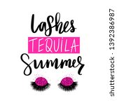 lashes tequila summer. vector... | Shutterstock .eps vector #1392386987