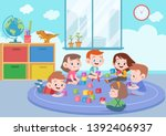 kids children playing with... | Shutterstock .eps vector #1392406937