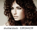 beautiful brunette with... | Shutterstock . vector #139244159