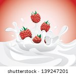 raspberries splashing in milk... | Shutterstock . vector #139247201