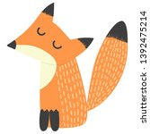 cute fox with closed eyes... | Shutterstock .eps vector #1392475214