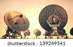 satellite dishes at twillight. | Shutterstock . vector #139249541
