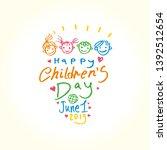 happy children's day. doodle... | Shutterstock .eps vector #1392512654